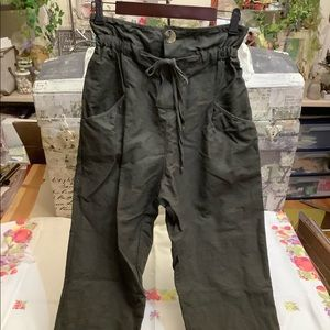 Zara Ladies Dark Green High Waist Pants S